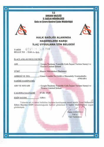 İlaçlama sertifikası 1