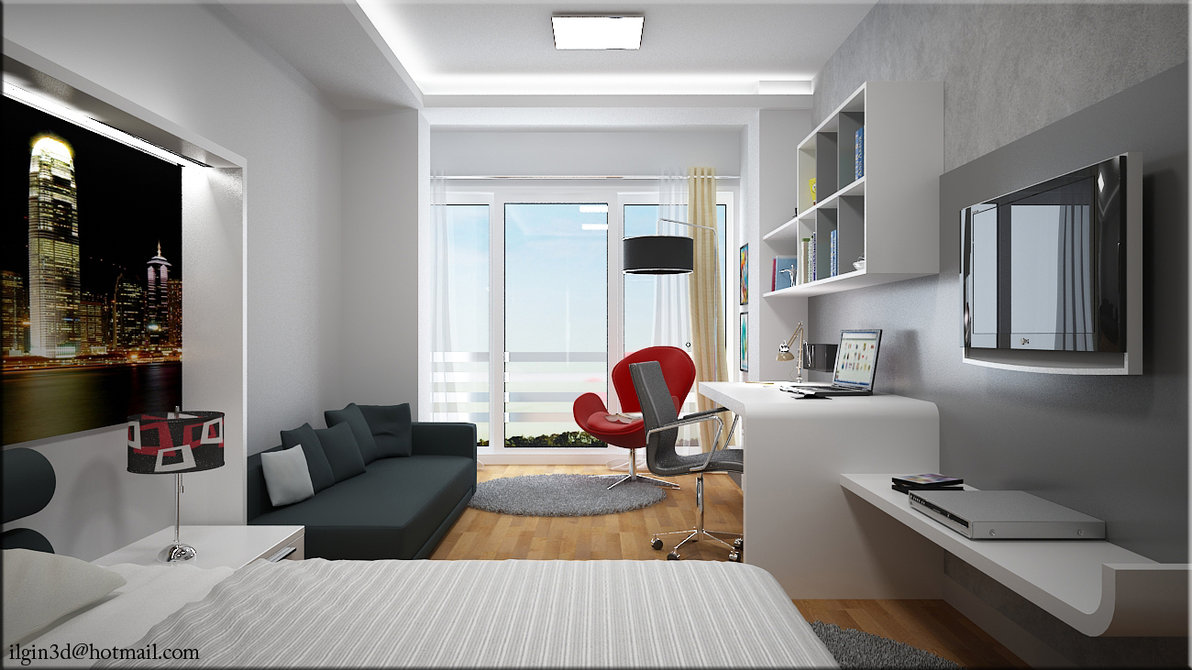 Modern-Bedroom-Decorating-Ideas-With-Young-Room-With-Chairs-Table-City-View-and-Television